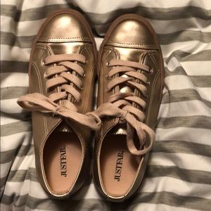 JustFab pink metallic sneakers